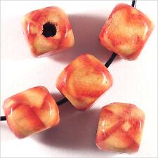 40 Perles Cubes en Bois 9mm Motif Bandes
