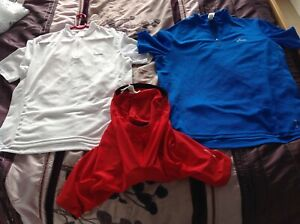 Job Lot Oxylane Btwin Eur L White & Blue Cycling Jersey And Eur XL Red Shorts