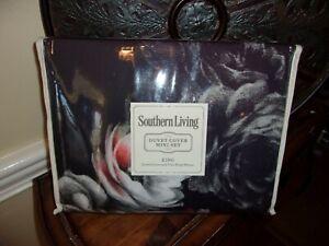 NIP Southern Living Ashley Black Floral King Duvet Cover & Shams Set 3pc