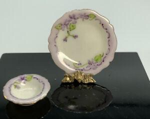 Dollhouse Miniature Artisan Signed Jo Parker Plate & Bowl