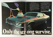 Vintage 1973 Original Print 2-Page Ad PLYMOUTH ROAD RUNNER ~Strong Birthday cake
