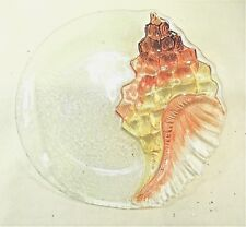 Conch Shell Art Glass plate hand painted Sealife Home decor
