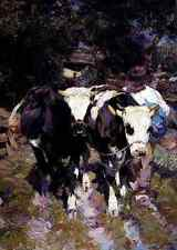 Zugel Heinrich Von Two Harnessed Calves A4 Print