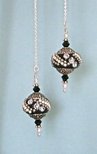 """IAJ"" STERLING SILVER Ear Threader w /BLACK BALI STYLE BEADS, SWAROVSKI CRYSTAL"
