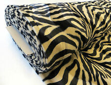 Tan/Black ZEBRA VELBOA faux fur animal print short pile luxury punk craft 1m