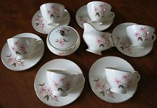 Knowles PINK DOGWOOD Footed 15pc Gold Rim Cup/ Saucer Set With Sugar + Creamer