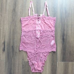 Brand New Sexy Pink Lace Tie Up Bodysuit Teddy Plus Size Lingerie 8-22 Tight