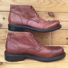 Superb Mens Tan Leather Ankle Boots UK 9 Sir Robert Made in Italy Vero Cuoio