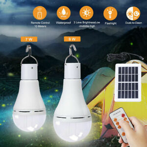 7W/9W Outdoor Solar Powered LED Bulb Lights Waterproof Camping Hanging Lantern