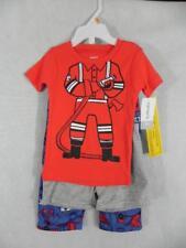 New Carter's Fireman Pajamas Sleep 3 piece Set Shorts Pants Boys sz 12m NWT h16