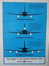 4/1973 PUB GENERAL ELECTRIC CF6 ENGINE MOTEUR AVIATION AIRLINER ORIGINAL AD