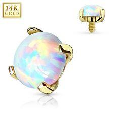 New 14ct Gold Rainbow Opal Stone 3mm Dermal Anchor Head Surface Piercing 14g