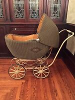 """LARGE ANTIQUE VINTAGE RATTAN WICKER BABY CARRIAGE WITH CORDUROY LINING 45"""" LONG"""