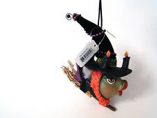 Katherine's Collection Kissing Fish  - Witch on Broom with Pink Tail