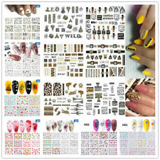 12 Sheets Nail Art Water Decals Transfer Stickers Text Letter Manicure Tips Art