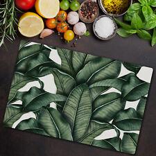 Glass Chopping Cutting Board Tropical Banana leaf leaves Nature Drawing 80x52