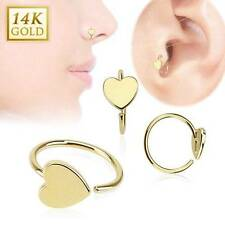 """14KT Solid Yellow Gold Nose Ring Hoop 5/16"""" 7.9mm Heart Daith Ear Cartilage 20G"""