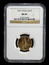 1991 $10 Gold Eagle 1/4 oz NGC MS69