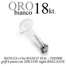 Piercing BIOFLEX LABRET TRAGO ORECCHIO griff zircone oro BIANCO 18kt. white GOLD