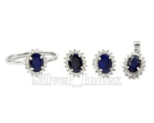Natural Blue Sapphire Gemstone 925 Solid Silver Ring Earring Women Jewelry Set