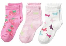 Country Kids Girls' 3 Pk, White/Pink/Bubble Gum, Sock Size Years
