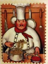 """1 RARE Fat Chef Magnet (2.5"""" x 3""""), Chef with noodles. FREE SHIPPING from USA"""