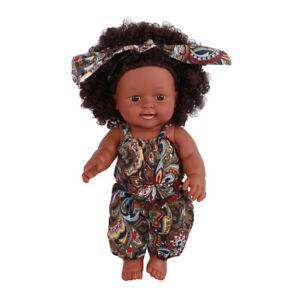 "12"" Realistic Black Doll Vinyl Baby Girl Newborn Lifelike Dolls with Clothes"