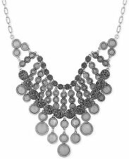$89 Lucky Brand Silver Tone Baii Collar Crystal Statement Necklace JLRY4970 NEW