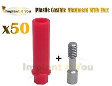 X 50 Plastic Castable Abutment With Hex + Screw For Dental Spiral Implant Lab
