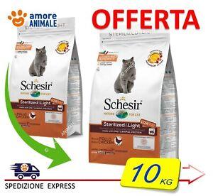 Schesir Dry Cat Sterilized & Light con POLLO  10 kg - Alimento per Gatti Adulti