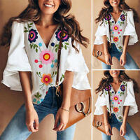 Women Ladies Bell Sleeve Floral Print Fashion Casual Loose Top T Shirt Blouse
