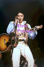 ELVIS PRESLEY WITH WHITE SCARF & GUITAR CONCERT TOUR PHOTO CANDID AA