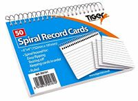 50 Spiral Bound 6 x 4 inch Ruled White Record Cards Lined Revision Flash Index