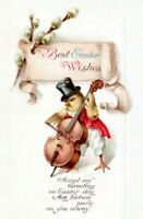 1907 Clapsaddle Dressed Chick Playing Cello International Art Easter Postcard LH