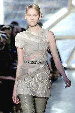 RODARTE Pale Grey Swirled Silk Leather Lace Dress 4  6