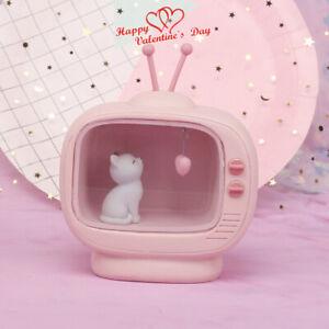 Cute TV Cat Lamp Resin Pink LED Nightlight Valentines Day Gift Desk Table Decor