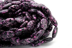 Black Pink Jasper Smooth Flat Oval Loose Gemstone Beads - 7mm x 15mm x 20mm