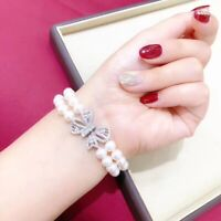 """2 Row Aaa 8-9mm South Sea White  Pearl Bracelet Silver Clasp 7.5-8"""""""