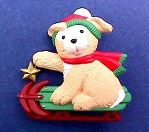 Hallmark PIN Christmas Vintage DOG Yellow Labrador PUPPY on SLED Holiday Brooch