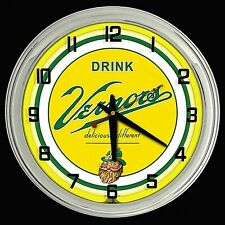 "16"" VERNORS Deliciously Different Ginger Ale Sign Yellow Neon Clock"