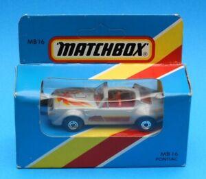 1986 Matchbox 1-75 Series car No.16: Pontiac - 1976 Firebird T-Roof - Grey Red