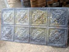 """24""""x48"""" Antique Victorian Ceiling Tin w 8 Tiles Fleur De Li Gorgeous Shabby Chic"""