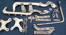 Large Set Antique Cast Iron Nickel Barber Chair Brackets Braces Parts Set of 19