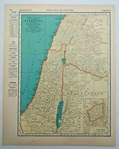 1938 Vintage PALESTINE Authentic Antique Atlas Map - Collier's World Atlas