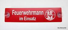 Feuerwehrmann,im Einsatz,Gravur,Schild,19 x 4,5 cm,Kunststoff,Rot,2 Sauger