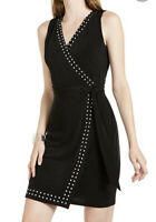 INC Women's Dress Black Size M Medium Sheath Faux Wrap Studded $89