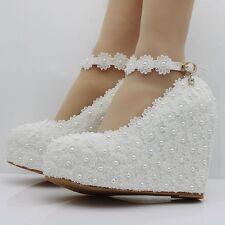 White Wedges Buckle Pumps Pearl Lace Platform Shoes Bride Wedding High Heels