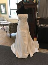 Alfred Angelo NWT Ivory Satin Strapless A-Line Wedding Dress Size 16