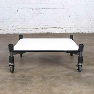 Post-Modern White Laminate & Metal Low Coffee Table or End Table on Casters
