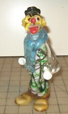 "Vintage 7 & 1/4"" Glass Clown Figurine - Light Blue Collar, Yellow Hair & Shoes"